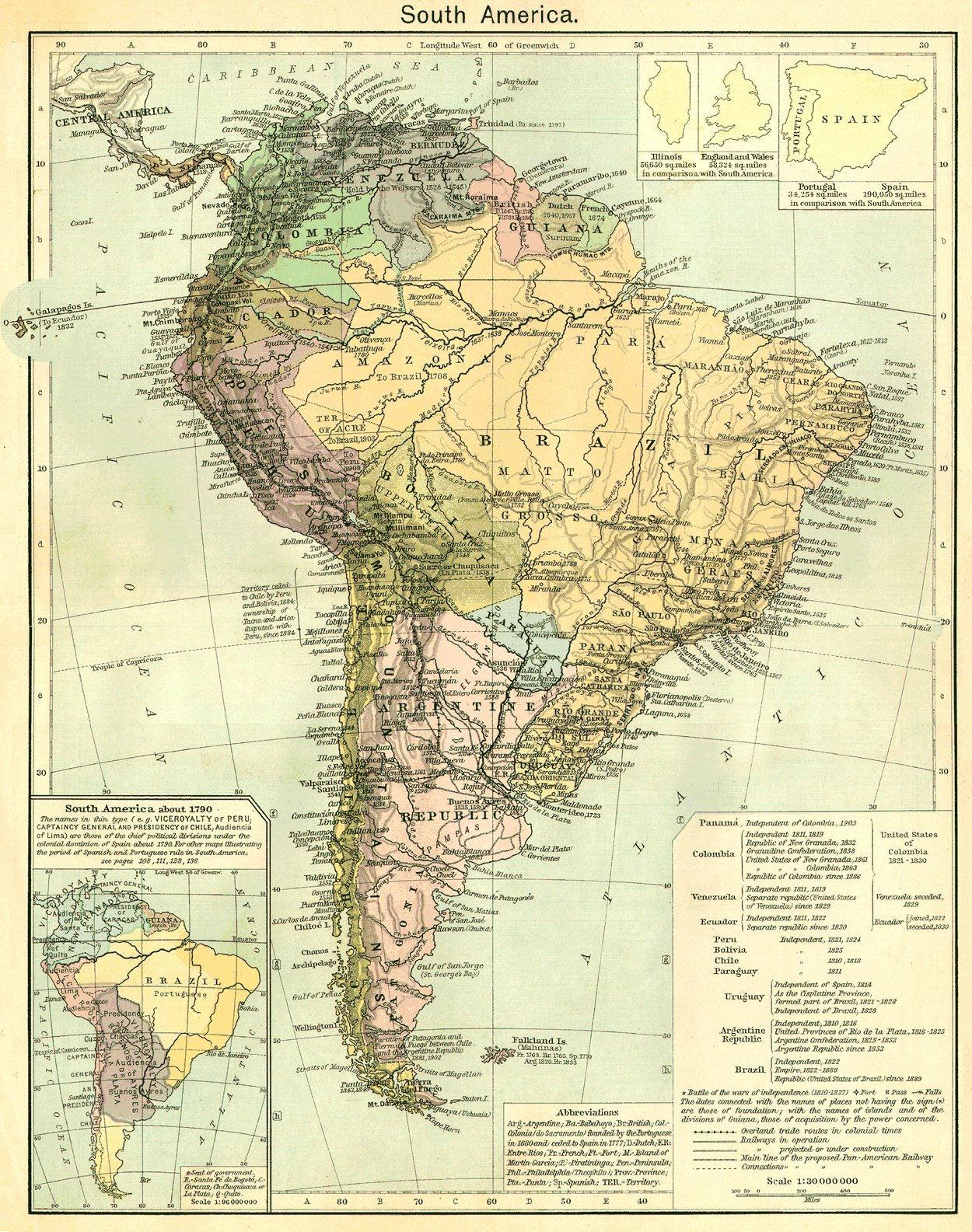 Mapa de América del Sur del siglo XIX